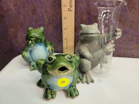 SET OF 3 FROGS - 2 CERAMIC AND 1 IRON WITH BUD VASE
