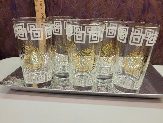 MID CENTURY MODERN BAR GLASSES WITH SILVER TRAY - SET OF FIVE - GREAT CONDITION!