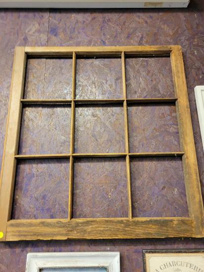 "VINTAGE WOOD WINDOW FRAME (NO GLASS) - APPROX 32""w x 34""h"
