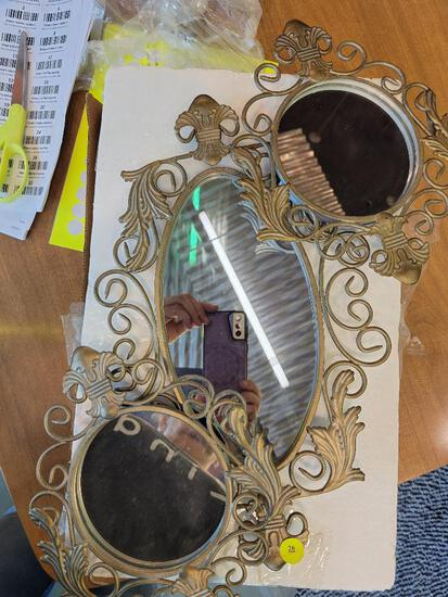 SET OF THREE GOLD TONED METAL WALL MIRRORS - LARGEST BEING 15 INCHES IN LENGTH