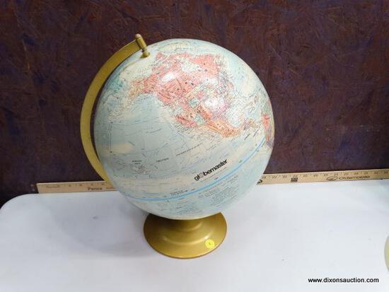 RETRO GLOBEMASTER WORLD GLOBE WITH BRASS COLORED METAL BASE - CIRCA 1990
