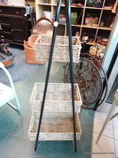 BLACK METAL BASKET STAND WITH 3 WICKER BASKETS - VARYING SIZE