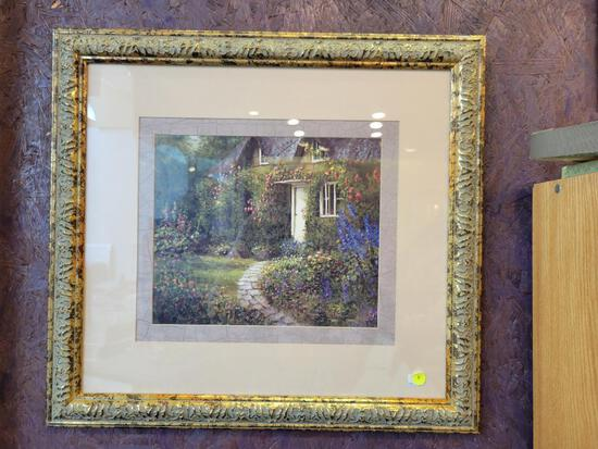PRINT OF FLORAL GARDEN SCENE MATTED IN A GOLD WOOD FRAME - APPROX 22 X 24