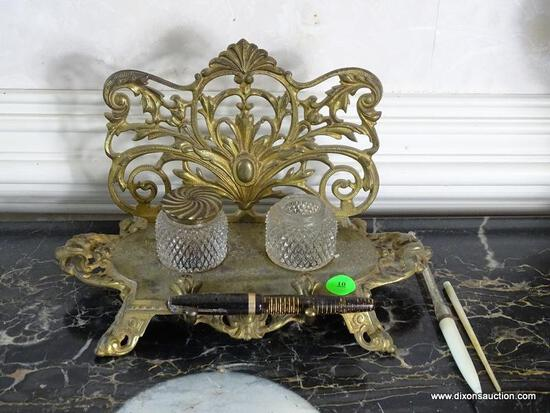 (FOYER) INKWELL; BRASS INKWELL- BRADLEY AND HUBBARD DOUBLE INKWELL ( ONE MISSING LID)- ITEM IS SOLD