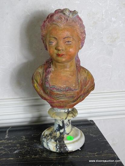 (FOYER) FIGURAL BUST ON STAND; VINTAGE PLASTER BUST ON MARBLE STAND- 16 IN H, ITEM IS SOLD AS IS