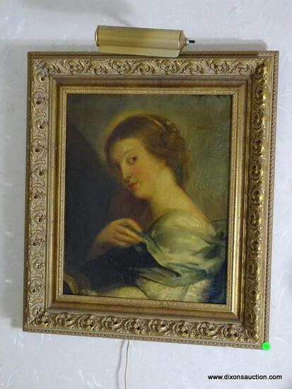 (FOYER) FRAMED 19TH CEN. UNSIGNED ANTIQUE OIL PORTRAIT ON CANVAS IN GOLD GILT CARVED FRAME- 23 IN X