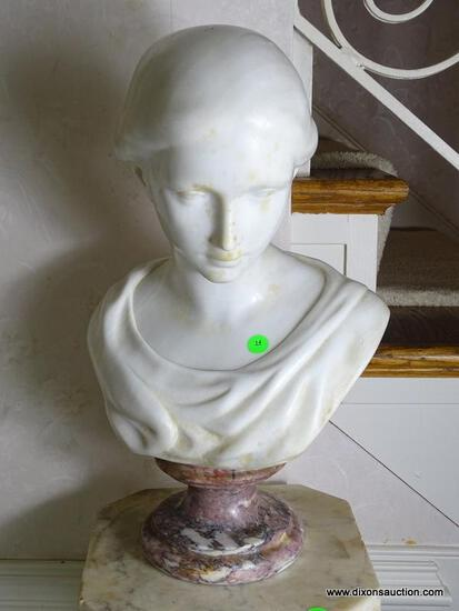 (FOYER) ANTIQUE MARBLE BUST- 20 IN H, ITEM IS SOLD AS IS WHERE IS WITH NO GUARANTEES OR WARRANTY. NO