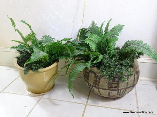 (FOYER) 2 CERAMIC PLANTERS WITH FAUX FERNS-12 IN DIA. X 15 IN H, ITEM IS SOLD AS IS WHERE IS WITH NO