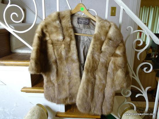 (FOYER) MINK STOLE BY BERRY BURK, ITEM IS SOLD AS IS WHERE IS WITH NO GUARANTEES OR WARRANTY. NO