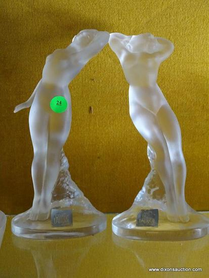 (FOYER HALL) PR. OF LALIQUE CRYSTAL FEMALE FIGURES- 10 IN H, ITEM IS SOLD AS IS WHERE IS WITH NO