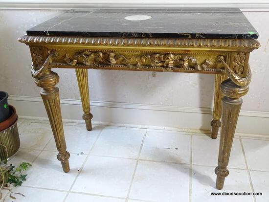 (FOYER) ANTIQUE GOLD GILDED AND HEAVILY CARVED FRENCH NEO-CLASSICAL STYLE MARBLE TOP FOYER TABLE,