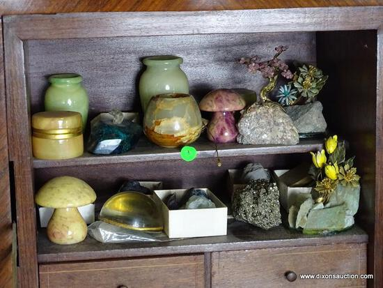 (FOYER) CONTENTS OF SHELVES OF DESK- LOT INCLUDES ALABASTER MUSHROOMS AND TRINKET BOXES, BOXES OF
