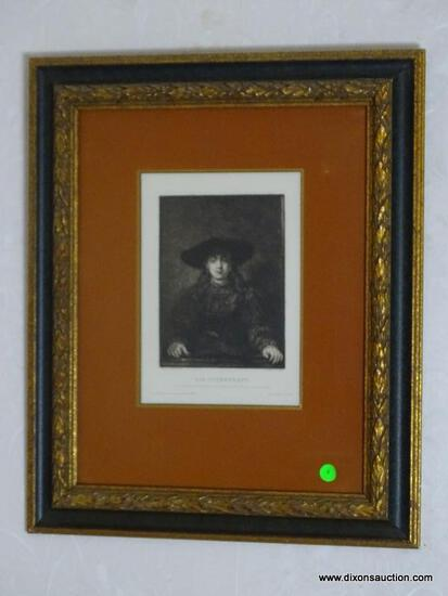 (FOYER) FRAMED GERMAN ENGRAVING; FRAMED AND DOUBLE MATTED PRINT - DIE JUDENBRAUT WITH ARTIST NAMES