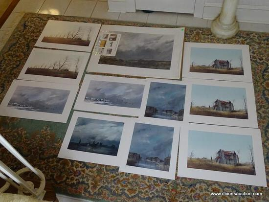(FOYER) 12 UNFRAMED HERB JONES PRINTS; NUMBERED AND PENCIL SIGNED - TITLES- 2 CLOUDY DAY- 33 IN X 25
