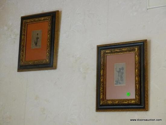 (STAIRS) PR.OF FRAMED MEZZOTINTS IN BLACK AND GOLD FRAMES-11 IN X 14 IN- HAS ORIGINAL PRICE ON BACK