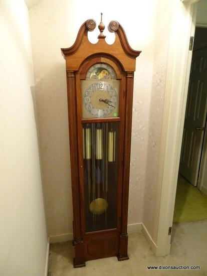 (STAIRS) SETH THOMAS CHERRY CASE GRANDFATHER'S CLOCK WITH SUN AND MOON DIAL- 18 IN X 12 IN X 76 IN,