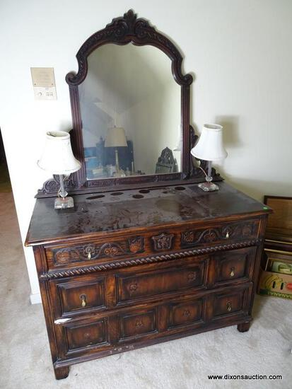 (UPBED 1) VINTAGE 1920'S OAK JACOBEAN STYLE DRESSER WITH MIRROR, HEAVILY CARVED, 3 DOVETAILED