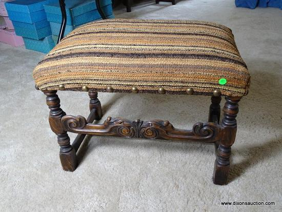 (UPBED) VINTAGE 1920'S OAK JACOBEAN STYLE FOOTSTOOL- 24 IN X 16 IN X 19 IN, ITEM IS SOLD AS IS WHERE