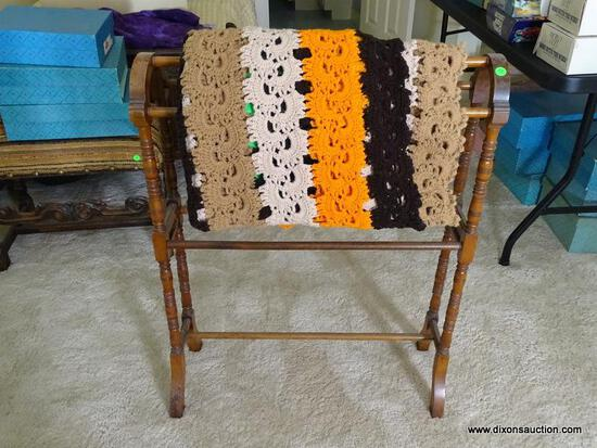 (UPBED 1) ANTIQUE WALNUT VICTORIAN QUILT RACK- 28 IN X 9 IN X 35 IN, INCLUDES AFGHAN, ITEM IS SOLD
