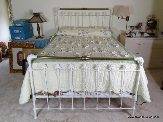 (UPBED 1) ANTIQUE IRON AND BRASS FULL SIZE BED- 54 IN X 80 IN X 58 IN, ITEM IS SOLD AS IS WHERE IS