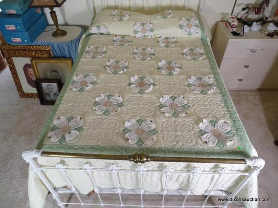 (UPBED 1) FULL SIZE BOX SPRING AND MATTRESS AND INCLUDES LINENS AND HANDMADE DOGWOOD QUILT, ITEM IS