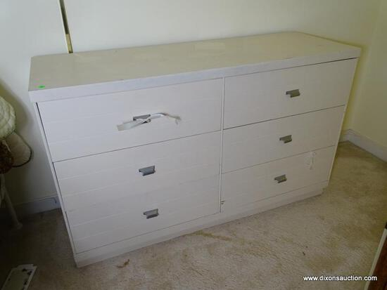 (UPBED 1) MID CENTURY MODERN 6 DRAWER WHITE PAINTED DRESSER, DRAWERS A DOVETAILED WITH OAK