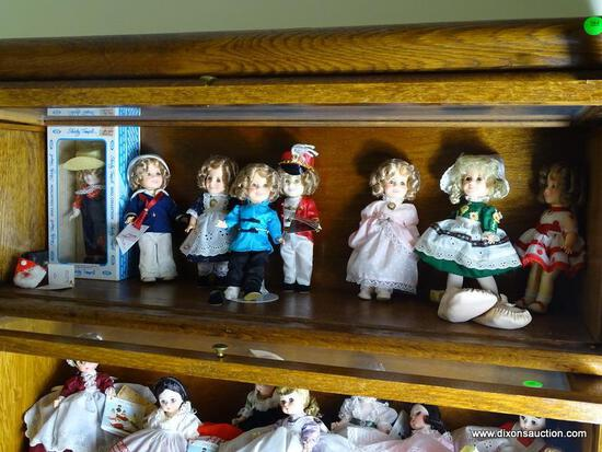 (UPBED 1) SHELF LOT OF 8 SHIRLEY TEMPLE DOLLS- 6 IN H, ITEM IS SOLD AS IS WHERE IS WITH NO