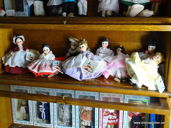 (UPBED 1) SHELF LOT OF 8 MADAME ALEXANDER DOLLS FROM LITTLE WOMEN SERIES- 7 IN H,ITEM IS SOLD AS IS