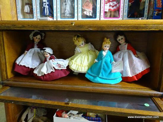 (UPBED) SHELF LOT OF 5 MADAME ALEXANDER DOLLS- SMALLEST- 7 IN- LARGEST- 9 IN, ITEM IS SOLD AS IS