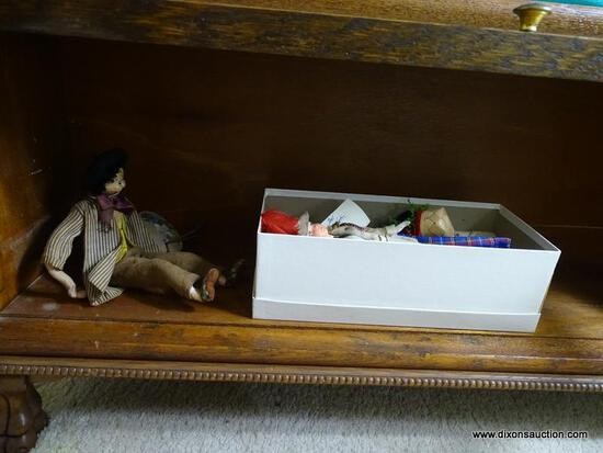 (UPBED 1) SHELF LOT OF 3 VINTAGE DOLLS, ITEM IS SOLD AS IS WHERE IS WITH NO GUARANTEES OR WARRANTY.