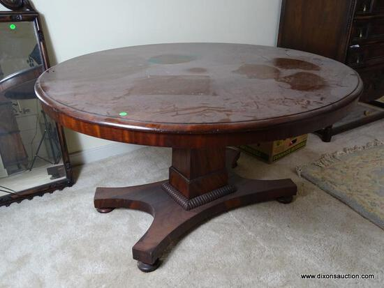 (UPBED 1) LARGE ANTIQUE 19TH CEN. EMPIRE MAHOGANY ENGLISH TILTOP TEA/BREAKFAST TABLE- 48 IN DIA. X