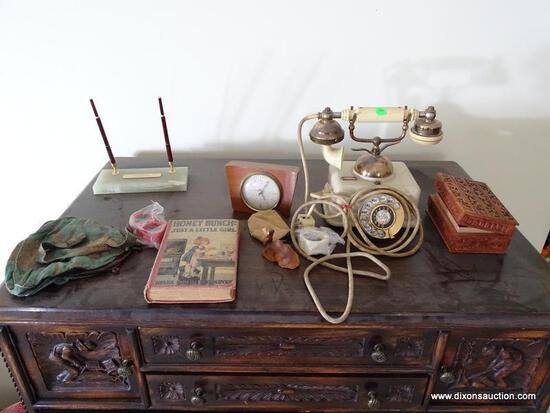 (UPBED 1) CONTENTS ON CHEST- FRENCH STYLE ROTARY PHONE, CHILD'S EARLY BOOK, ALABASTER PEN AND INK