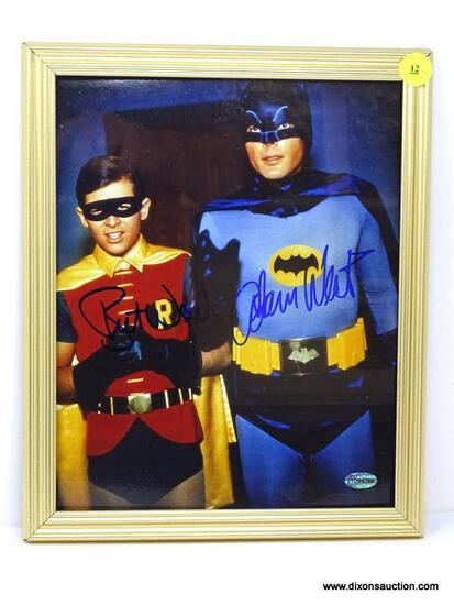 """FRAMED AND SIGNED """"BATMAN"""" PHOTOGRAPH OF BURT WARD AND ADAM WEST IN COSTUME AS BATMAN AND ROBIN. IS"""