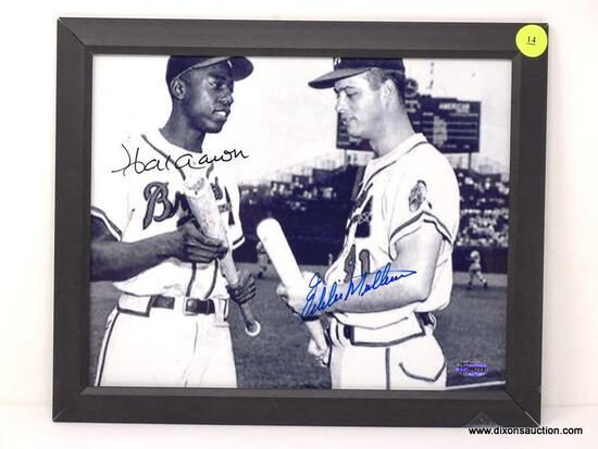 """FRAMED AND SIGNED """"AARON/MATTHEWS"""" PHOTOGRAPH WITH BLACK FRAME. HAS COA. MEASURES 11.5 IN X 9.5 IN."""
