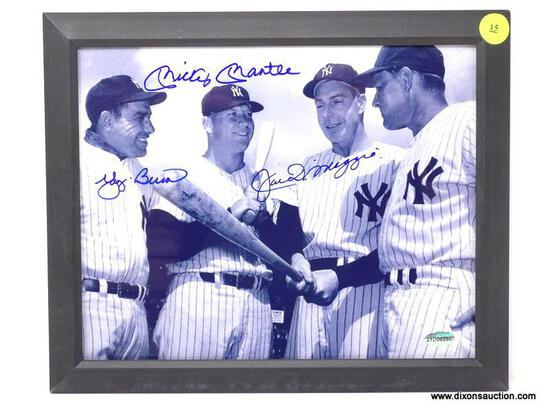 """FRAMED AND SIGNED """"BERRA/MANTLE/DIMAGGIO"""" PHOTOGRAPH WITH BLACK FRAME. HAS COA. MEASURES 11.5 IN X"""