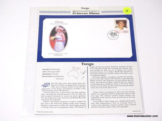 OFFICIAL INTERNATIONAL TRIBUTES TO PRINCESS DIANA (1 FROM BENIN AND 1 FROM TONGA). ITEM IS SOLD AS
