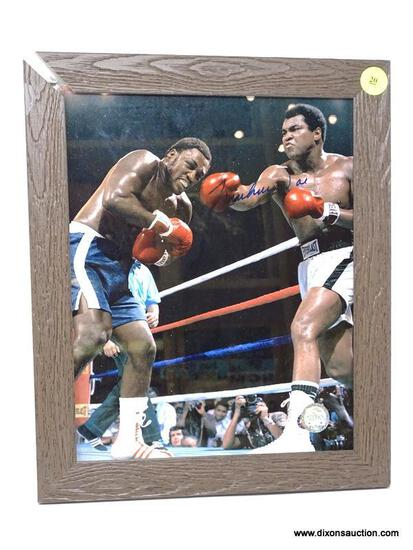 MUHAMMAD ALI SIGNED PHOTOGRAPH IN FRAME (NEEDS REPAIR). HAS COA. FRAME MEASURES 9.5 IN X 11.5 IN.