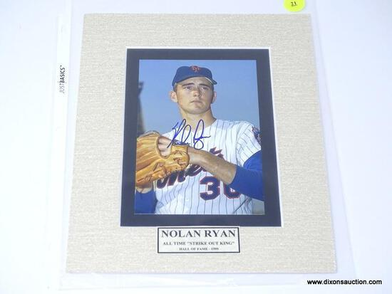 """FRAMED NOLAN RYAN """"ALL TIME STRIKEOUT KING"""" HALL OF FAME (1999) SIGNED PHOTOGRAPH WITH COA. MEASURES"""