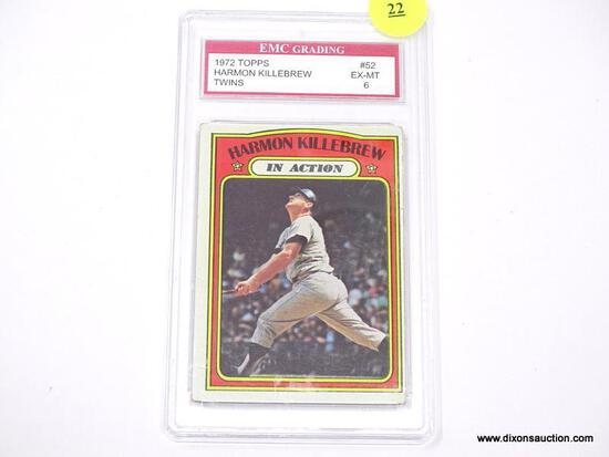 """EMC GRADING 1972 TOPPS """"HARMON KILLEBREW"""" #52 CARD IN EX-MT CONDITION WITH A GRADING OF 6. IS IN"""