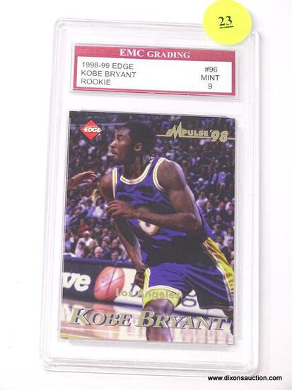 """EMC GRADING 1998-99 EDGE """"KOBE BRYANT"""" #96 ROOKIE CARD IN MINT CONDITION WITH A GRADING OF 9. IS IN"""