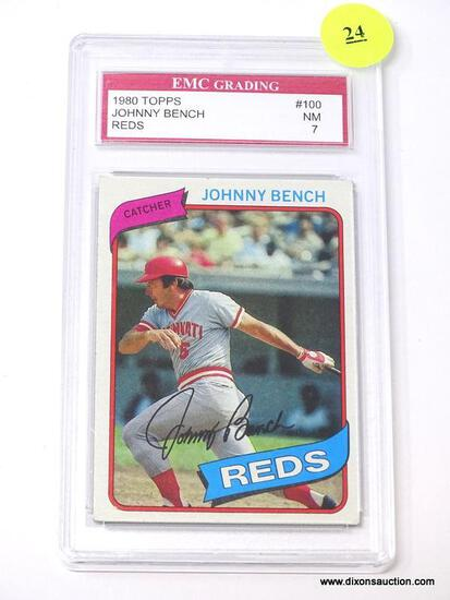 """EMC GRADING 1980 TOPPS """"JOHNNY BENCH"""" #100 CARD IN NEAR MINT CONDITION WITH A GRADING OF 7. IS IN"""
