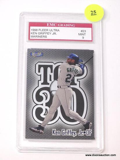 """EMC GRADING 1998 FLEER ULTRA """"KEN GRIFFEY JR."""" #23 CARD IN MINT CONDITION WITH A GRADING OF 9. IS IN"""