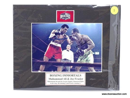 """""""BOXING IMMORTALS"""" MUHAMMAD ALI & JOE FRAZIER SIGNED PHOTOGRAPH WITH MATTING. MEASURES 8 IN X 10 IN."""
