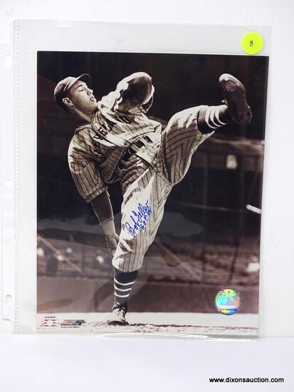 BOB FELLER SIGNED PHOTOGRAPH. MEASURES 8 IN X 10 IN. HAS COA ON THE BACK. ITEM IS SOLD AS IS WHERE