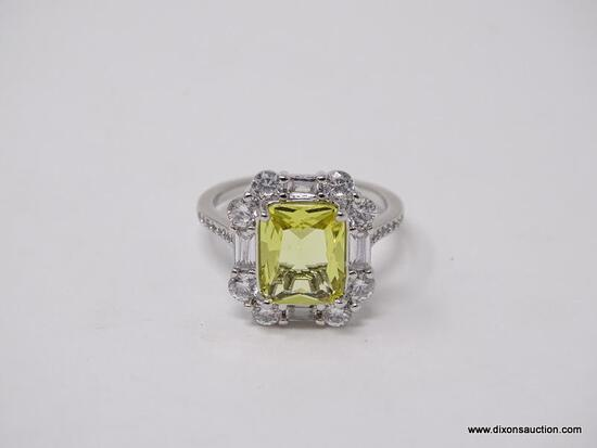 .925 STERLING SILVER LADIES 5 CT CITRINE COCKTAIL RING. SIZE 8.