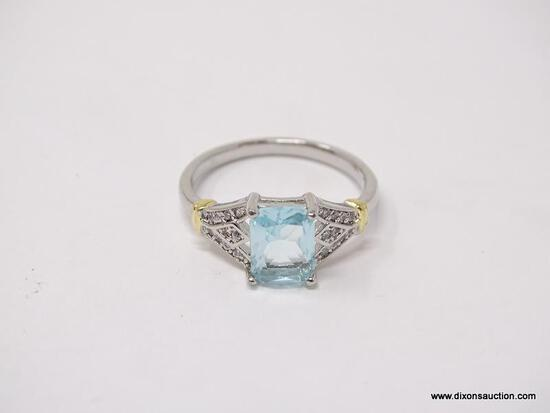 .925 STERLING SILVER LADIES 1 1/2 CT BLUE TOPAZ COCKTAIL RING. SIZE 8.