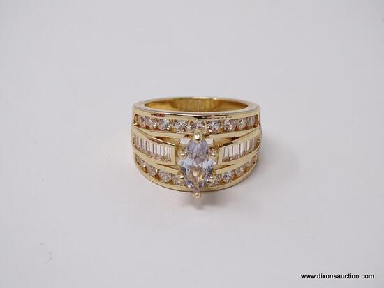 .925 STERLING SILVER LADIES 4 CT ENGAGEMENT RING. SIZE 8.