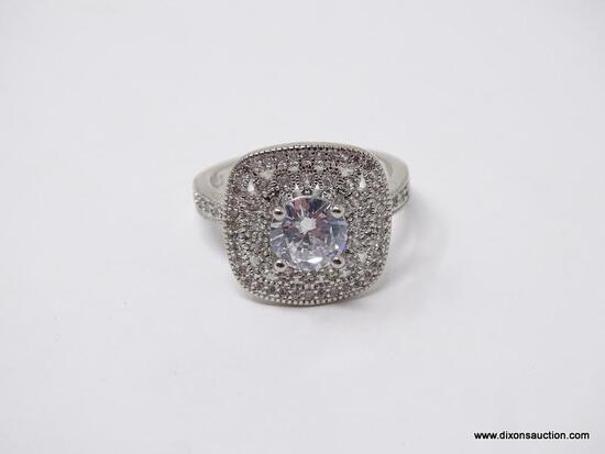 .925 STERLING SILVER LADIES 1 1/2CT COCKTAIL RING. SIZE 8
