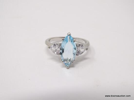 .925 STERLING SILVER LADIES 4 CT BLUE TOPAZ RING. SIZE 8.