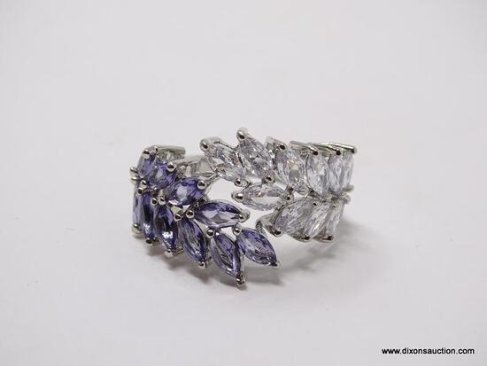 .925 STERLING SILVER LADIES 3 CT AMETHYST COCKTAIL RING. SIZE 8.